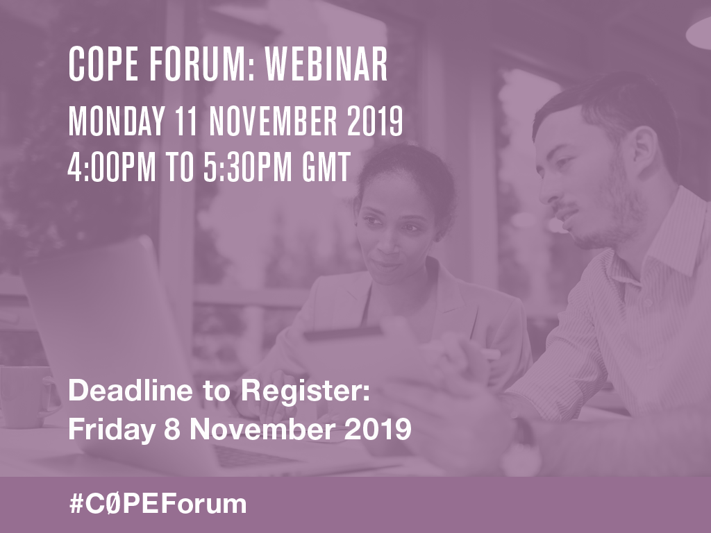 COPE Forum November 2019: Artificial intelligence in decision making