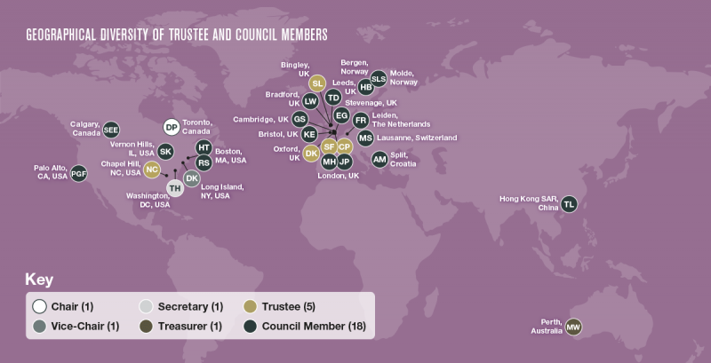 Map showing geographical diversity of Trustee and Council members